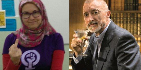 "Una profesora con hiyab que se declara ""feminista"" dedica una peineta a Pérez-Reverte en Twitter"