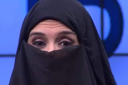 Polémica aparición de una presentadora de Intereconomía con un nicab para protestar 'contra la amenaza de la invasión islamista'