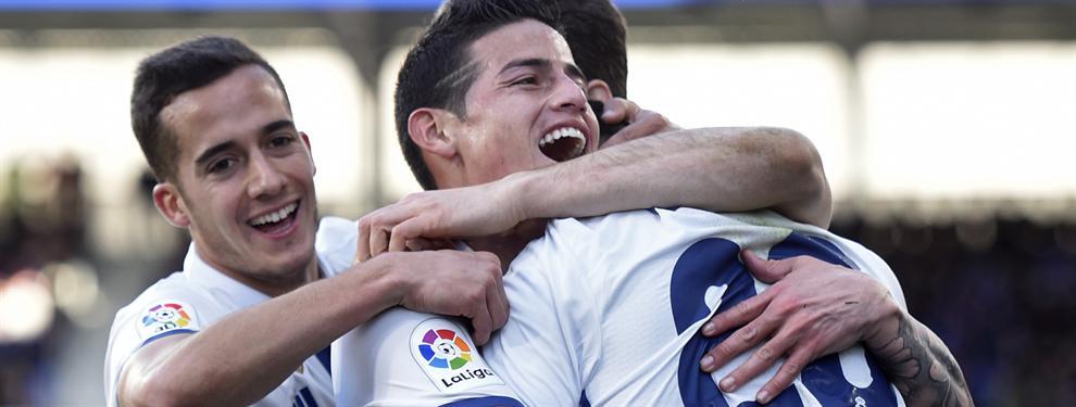 James y Zidane contentos por la victoria