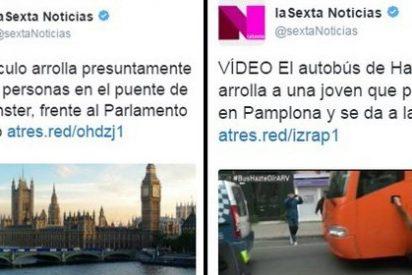 Mano de palos a los 'presuntos periodistas' de laSexta por un patoso tuit sobre el atentado terrorista de Londres