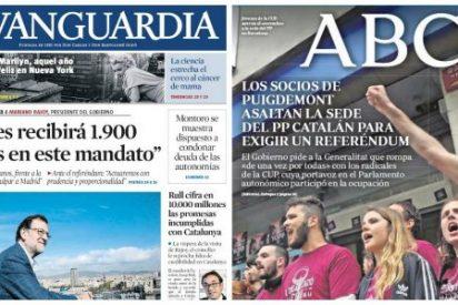 Los bandoleros de las CUP escrachan la sede del PP y Rajoy les promete más dinero en La Vanguardia