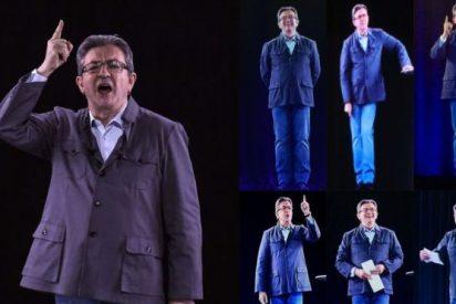 El político Jean Luc Mélenchon usa hologramas para estar en 7 lugares al mismo tiempo