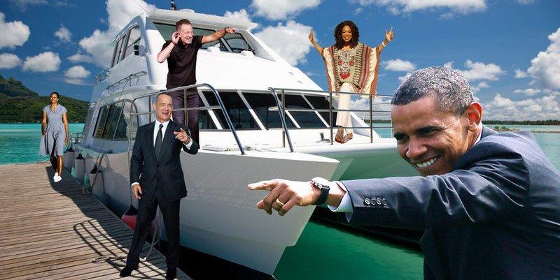 Los Obama pasean en barco con Bruce Springsteen, Oprah y Tom Hanks por aguas de Polinesia