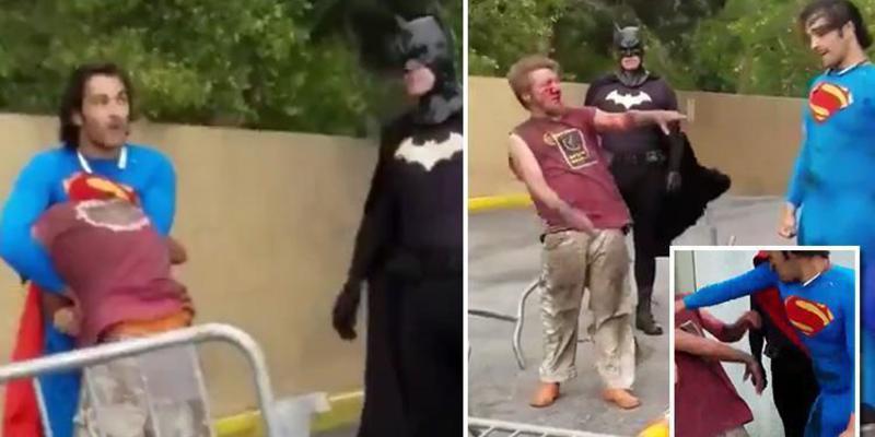 """'Superman' pega una tremenda paliza a un vagabundo que """"atacó sexualmente a Batman"""""""
