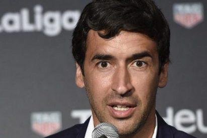 Tremenda y aplaudida pillada a Raúl González, en el descanso del Bayern-Real Madrid