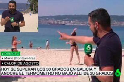 La absurda 'crónica con figurantes' desde una playa, que hizo un reportero de La Sexta