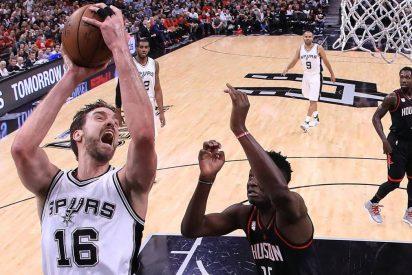 Pau Gasol y los suyos se crecen ante la adversidad en Houston: Rockets 92 - Spurs 103