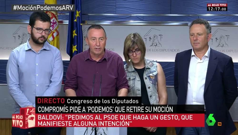 Los de Compromís piden a sus compinches de Podemos que aplacen la moción contra Rajoy