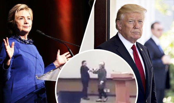 El cachondo vídeo de una patosa Hillary Clinton ensayando para evitar que le abrace Trump