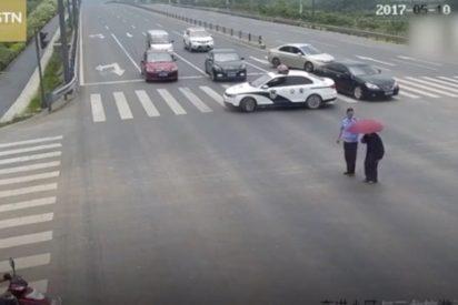 Este policía cortó el tráfico de una gran avenida por un motivo muy justo