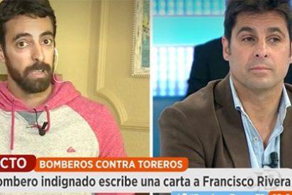 Fran Rivera hace una gran faena con el bombero antitaurino que intentaba embestirle en televisión