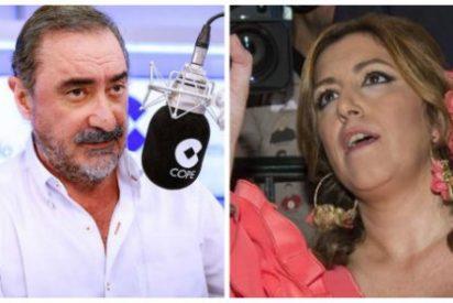 La guasa de Carlos Herrera con el chute de avales a Sánchez le estalla en los morros a la folclórica 'Sultana'