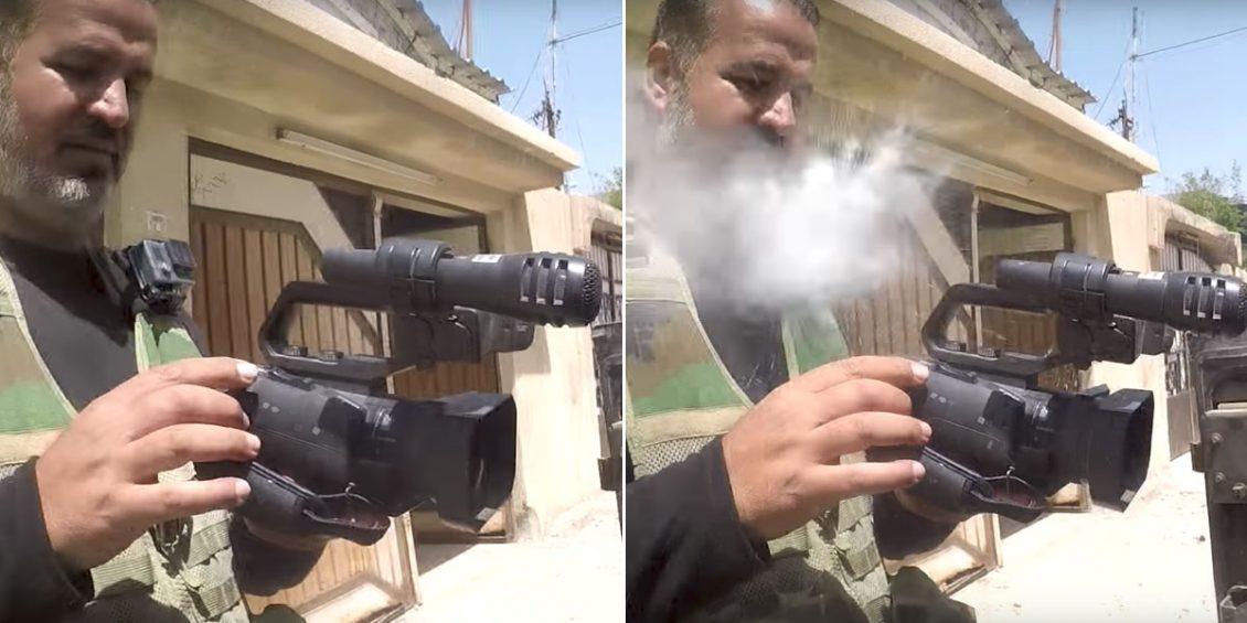 [VÍDEO] Al periodista le dispara un francotirador del ISIS... y lo salva su GoPro