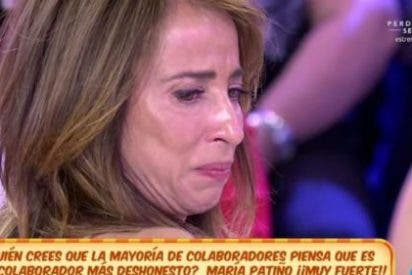 María Patiño, destrozada y desenmascarada, abandona 'Sálvame' entre lágrimas