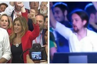 Los patéticos intentos de Sánchez por imitar a Podemos: cantar La Internacional ocultando que trabajó en Caja Madrid y el Banco Mundial