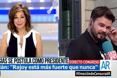 """Gabriel Rufián deja boquiabierta a Ana Rosa Quintana con una respuesta inesperada: """"Rajoy volverá a ganar las elecciones"""""""