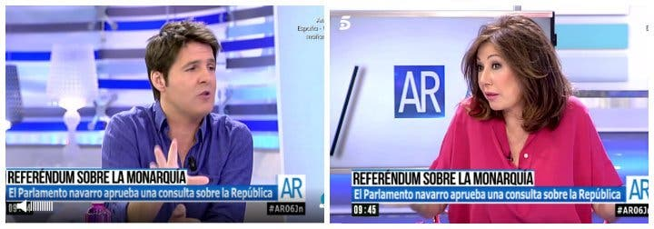 Ana Rosa Quintana le da la del pulpo a Jesús Cintora por defender el referéndum republicano en Navarra