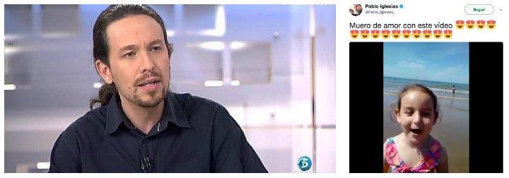 Twitter estalla de rabia contra Pablo Iglesias por salivar con el adoctrinamiento podemita a una niña