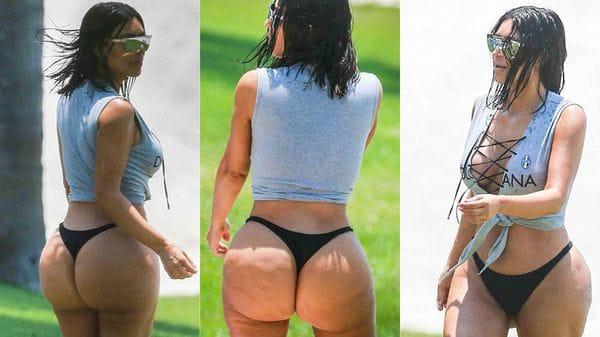 La versión de Kim Kardashian sobre las fotos de su culazo con celulitis