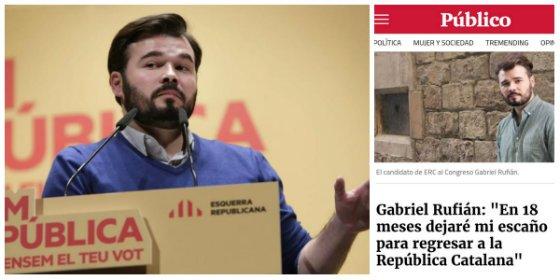 Un tuitero le amarga a Rufián su fiesta por el referéndum separatista con un contundente 'zasca hemeroteco'