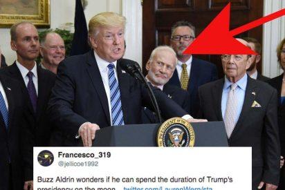 [VÍDEO] Trump habla del espacio y deja al astronauta Buzz Aldrin en la Luna