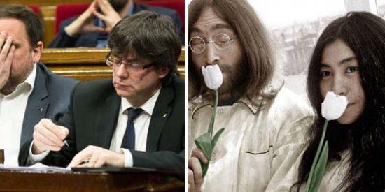 ¿Acabarán Puigdemont y Junqueras a hostias como los Beatles? Mofas con el apoyo de Yoko Ono al soberanismo catalán