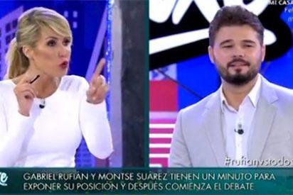La implacable Montse Suárez destroza en un bestial minuto al amigo 'Rufián' de Otegui