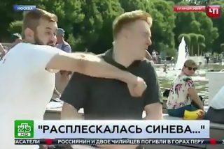 El borracho le parte la cara al reportero, en vivo y en directo