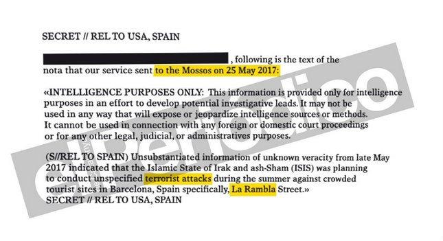 """La CIA avisó el 25 de mayo a los Mossos del atentado """"en La Rambla de Barcelona"""""""