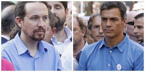Pablo Iglesias y Pedro Sánchez vistieron de azul por sugerencia de la ANC