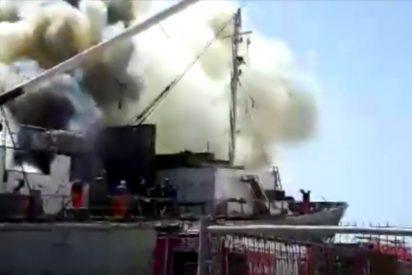 [VÍDEO] Terrible incendio en un barco en el Muelle de Las Palmas