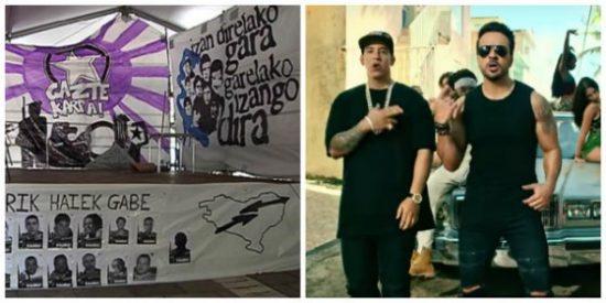 Mamarrachadas vascas: Luis Fonsi, vetado por machista de unas casetas de fiesta plagadas de fotos de asesinos de ETA