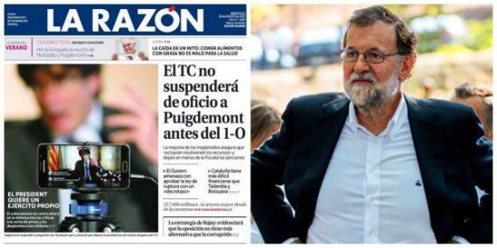 Rajoy sigue sin comparecer en Cataluña y La Razón avisa que los separatistas ya nos engañaron el 9-N