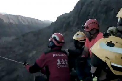 [VÍDEO] Así fue el espectacular rescate de los Bomberos a un senderista