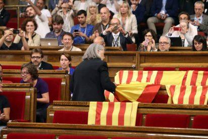 [VÍDEO] Con este choteo retira una diputada podemita las banderas de España del Parlamento catalán