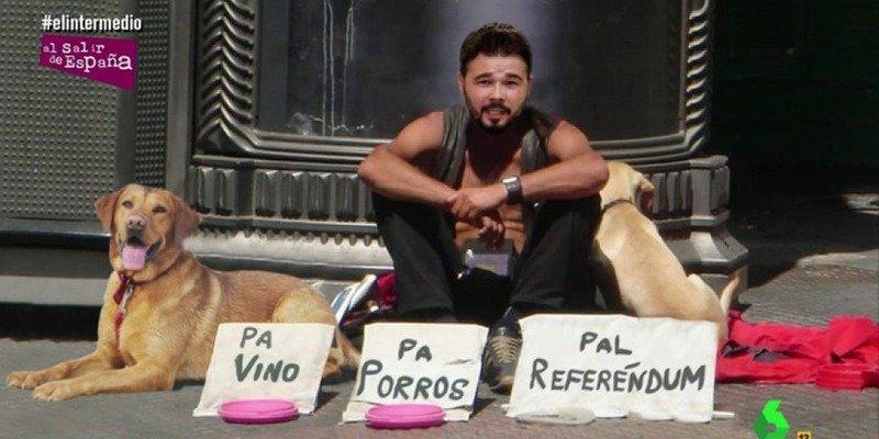 Rufián ya ha montado su colegio electoral e insta a los catalanes a votar en el referéndum ilegal