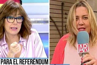 """Mayka Navarro dice que los catalanes no están """"a hostias por la calle"""" y se lleva un meneo brutal de Ana Rosa"""