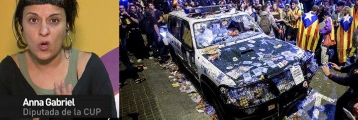 """Anna Gabriel se ríe en la cara de Ferreras y en la de todos los españoles: """"Yo no sé qué coches de la Guardia Civil se han destrozado"""""""