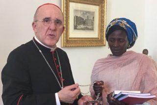 El cardenal Osoro recibe a Rebeca, víctima de Boko Haram
