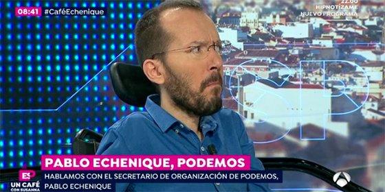 Griso despedaza a 'Echeminga' con un vídeo sobre la cambiante opinión de Podemos con la consulta separatista