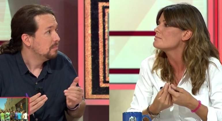 Cabreo monumental de la periodista Pilar Gómez con Pablo Iglesias por guiñarle el ojo
