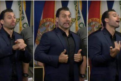 """""""Lo único bueno del huracán Irma era ver al intérprete del lenguaje de signos"""""""