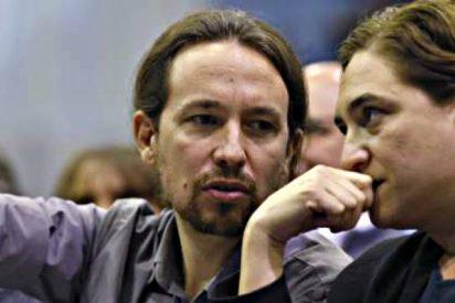 La antisistema Colau llama 'cobarde' a Rajoy y el chavista Iglesias dice que vuelve el 'Cara al Sol'