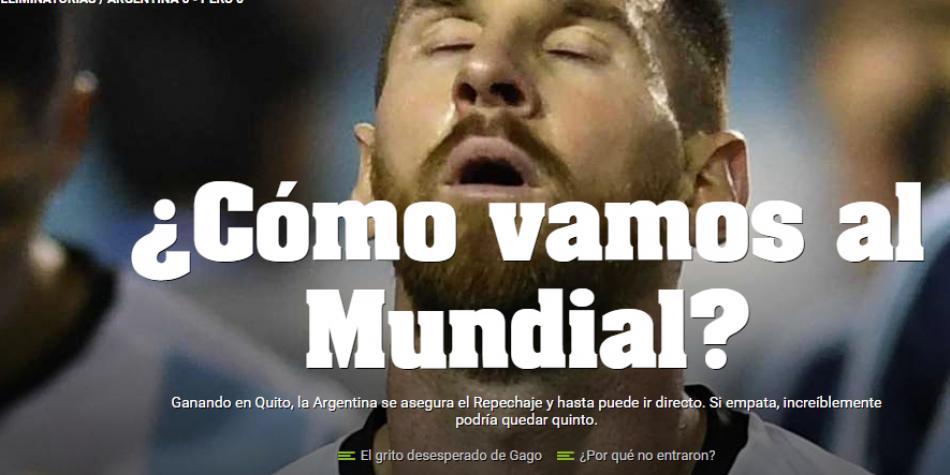 """Diario Olé define así la situación de Argentina: """"Estamos jodidos"""""""