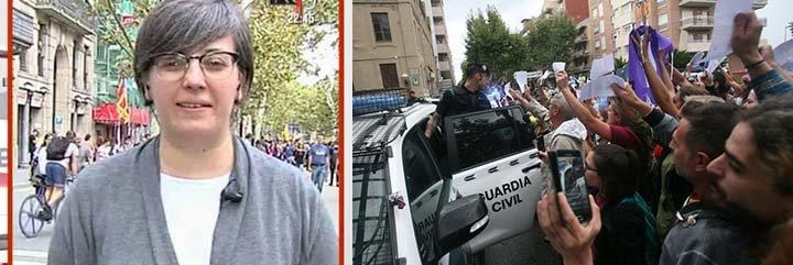 Una infame cachorra de la CUP niega el acoso y el linchamiento de sus 'catabatasunos' a los policías y guardias civiles