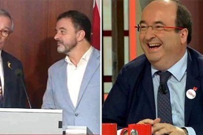 Miquel Iceta se descojona vivo de estos dos independentistas por pedirle a Colau que rompa con el PSC