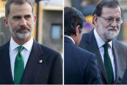 Felipe VI, Mariano Rajoy y el misterio de la corbata V.E.R.D.E: 'Viva el rey de España'