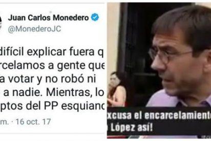 Monedero sale a defender a los golpistas catalanes y en Twitter le dan para el pelo con un garrote de hemeroteca