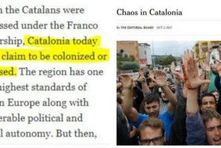 La Vanguardia se inventa titulares del The New York Times en apoyo de la Cataluña