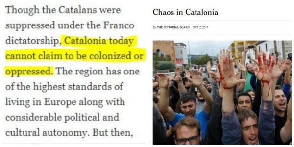 """La Vanguardia se inventa titulares del The New York Times en apoyo de la Cataluña """"oprimida y colonizada"""""""